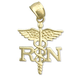 14k gold rn registered nurse caduceus charm