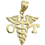 14k gold ot occupational therapist caduceus charm