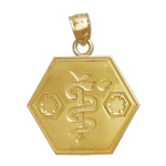 14k gold star of life with rod of asclepius charm pendant