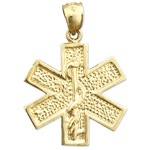 14k gold star of life with rod of aesculapius charm pendant