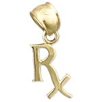 14k gold prescription rx symbol charm