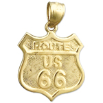 14k gold us route 66 charm