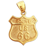 14k gold route us 66 road sign charm pendant