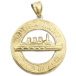 14k gold queen mary long beach charm pendant