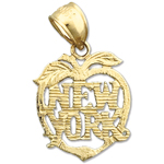 14k gold new york big apple charm