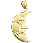 14k gold crescent man in the moon charm pendant