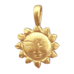14k gold smiley face sun charm slide
