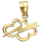 14k gold celestial thunderbolt and cloud charm