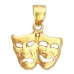 14k gold 15mm tragedy comedy drama masks charm