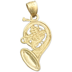 14K Gold French Horn Trumpet Charm