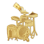 14k gold drum kit charm pendant