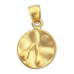 14k gold gong drum charm