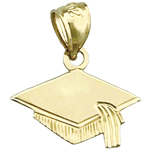 14k gold graduation cap charm
