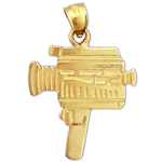 14k gold movie camera charm pendant