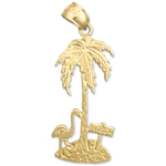 14k gold palm tree with flamingo charm pendant