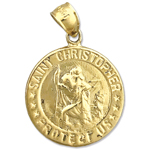 14k gold 18mm saint christopher medallion protect us charm