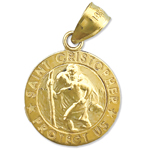14k gold 15mm saint christopher medal protect us charm