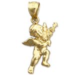 14k gold cherub angel with violin charm