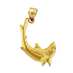 14k gold shark with jaws opened charm pendant