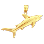 14k gold jaws open shark charm pendant