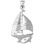 925 sterling silver sailboat with dolphin swimming charm pendant