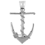 925 sterling silver 3-d ship anchor with sailor rope charm pendant