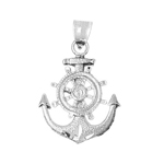 925 sterling silver ship wheel and anchor charm pendant