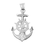 925 sterling silver 35mm ship wheel and anchor charm pendant