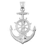925 sterling silver 42mm ship wheel and anchor charm pendant