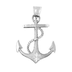 925 sterling silver ship rope and anchor charm pendant