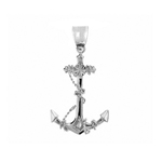 925 sterling silver 3d ship anchor with sailor rope charm pendant