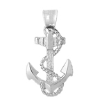 925 sterling silver ship anchor with sailor rope charm pendant