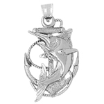 925 sterling silver marlin fish caught in ship anchor charm pendant