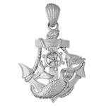 925 sterling silver mermaid and sailor ship anchor charm pendant