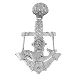 925 sterling silver dolphin, anchor & moveable wheel charm pendant