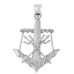 925 sterling silver 3d anchor and tridents charm pendant