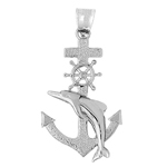925 sterling silver ship wheel, anchor and dolphin charm pendant