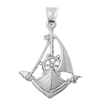 925 sterling silver single mast sailboat charm pendant