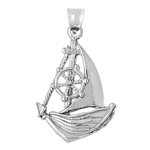 925 sterling silver catboat with ship wheel charm pendant