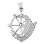 925 sterling silver ship wheel catboat charm pendant
