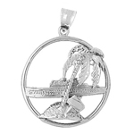 925 sterling silver cruise ship and island with palm tree charm pendant