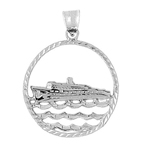 925 sterling silver cruise ship and waves medallion