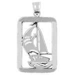 925 sterling silver sailboat charm pendant with rectangle frame
