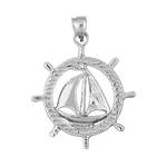 925 sterling silver sailboat in ship wheel charm pendant
