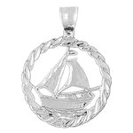 925 sterling silver sailboat in rope frame ship wheel charm pendant