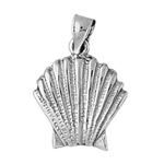 925 sterling silver 18mm scallop shell charm pendant
