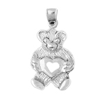 925 sterling silver teddy bear with open heart charm
