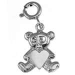 925 sterling silver teddy bear with heart charm