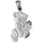 925 sterling silver teddy bear with gift box charm