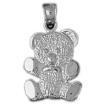 925 sterling silver teddy bear with tie charm